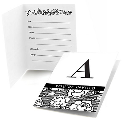 4cc8aec67f70 Floral Monogram - Bridal Shower Fill In Invitations - 8 ct ...