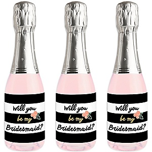Floral Stripes - Mini Wine and Champagne Bottle Label Stickers - Will You Be My Bridesmaid Gift - Set of 16