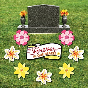 Flower Memorial - Yard Sign & Outdoor Lawn Cemetery Grave Decorations - Memorial Cemetery Yard Signs - Set of 8