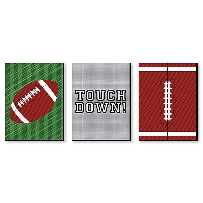 End Zone - Football - Sports Themed Nursery Wall Art, Kids Room Decor and Game Room Home Decorations - 7.5 x 10 inches - Set of 3 Prints