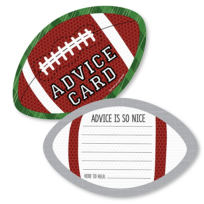 End Zone - Football - Wish Card Baby Shower Activities - Shaped Advice Cards Game - Set of 20