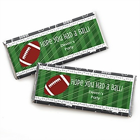 End Zone - Football - Personalized Candy Bar Wrapper Baby Shower or Birthday Party Favors - Set of 24