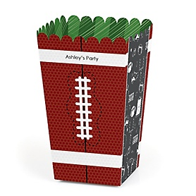 End Zone - Football - Personalized Party Popcorn Favor Treat Boxes - Set of 12
