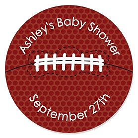 End Zone - Football - Personalized Baby Shower Sticker Labels - 24 ct