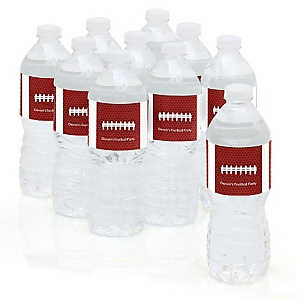 End Zone - Football - Personalized Party Water Bottle Sticker Labels - Set of 10