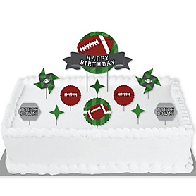 End Zone - Football - Birthday Party Cake Decorating Kit - Happy Birthday Cake Topper Set - 11 Pieces