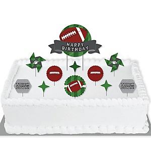 End Zone - Football - Birthday Party Cake Decorating Kit - Happy Birthday Cake Topper Set - 11 Pieces