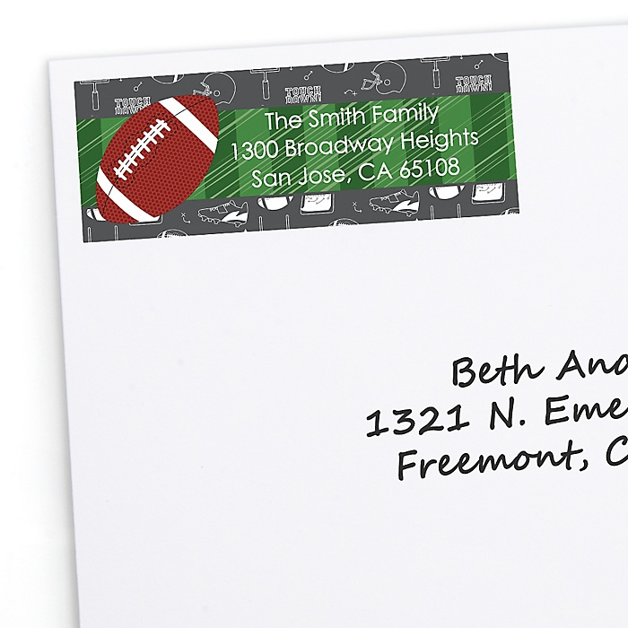 End Zone - Football - Personalized Birthday Party Return Address Labels - 30 ct