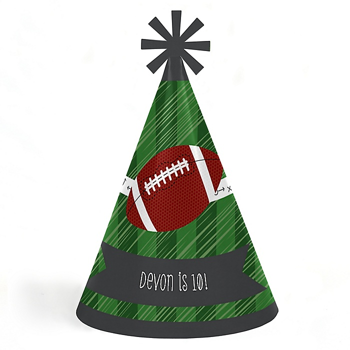 End Zone - Football - Personalized Cone Happy Birthday Party Hats for Kids and Adults - Set of 8 (Standard Size)
