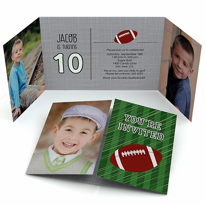 End Zone - Football - Personalized Birthday Party Photo Invitations - Set of 12