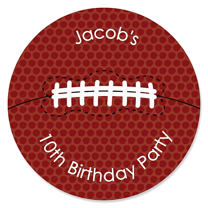 End Zone - Football - Personalized Birthday Party Sticker Labels - 24 ct