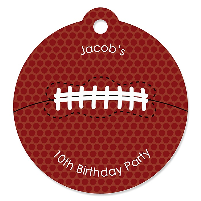 End Zone - Football - Personalized Birthday Party Tags - 20 ct