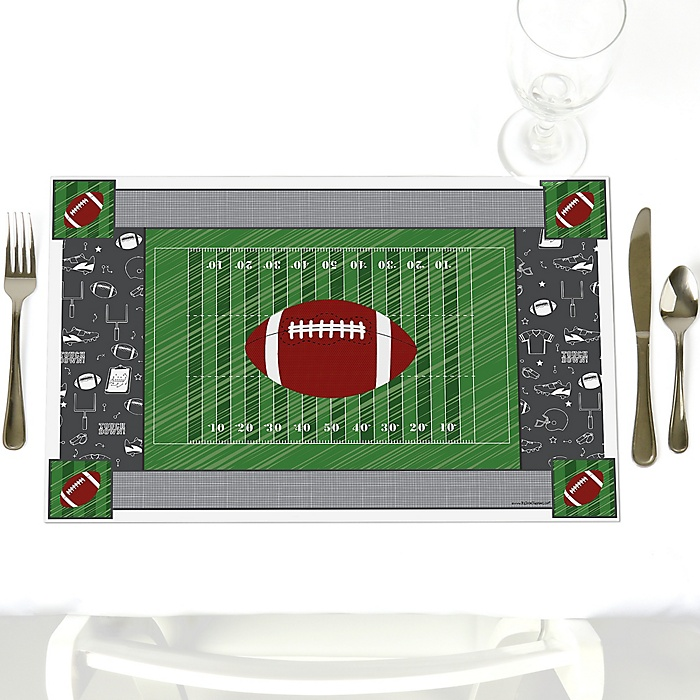 End Zone - Football - Party Table Decorations - Baby Shower Placemats - Set of 12