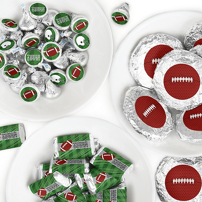 End Zone - Football - Mini Candy Bar Wrappers, Round Candy Stickers and Circle Stickers - Baby Shower or Birthday Party Candy Sticker Favor Kit - 304 Pieces