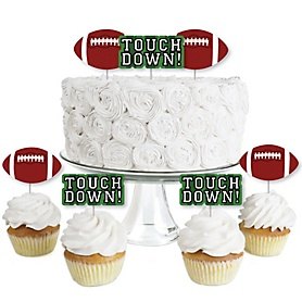 End Zone - Football - Dessert Cupcake Toppers - Baby Shower or Birthday Party Clear Treat Picks - Set of 24