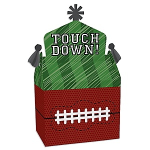 End Zone - Football - Treat Box Party Favors - Baby Shower or Birthday Party Goodie Gable Boxes - Set of 12