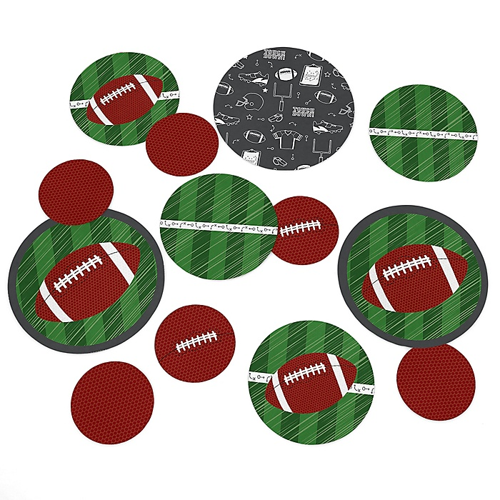 End Zone - Football - Baby Shower or Birthday Party Giant Circle Confetti - Football Party Decorations - Large Confetti 27 Count