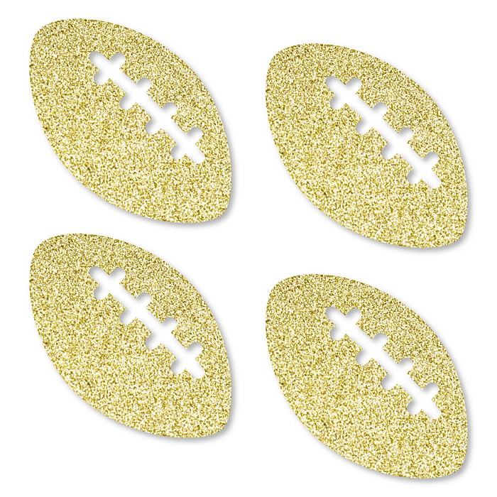 Gold Glitter Football - No-Mess Real Gold Glitter Cut-Outs - Baby Shower or Birthday Party Confetti - Set of 24