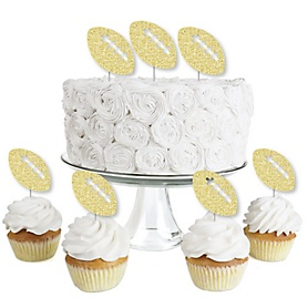 Gold Glitter Football - No-Mess Real Gold Glitter Dessert Cupcake Toppers - Baby Shower or Birthday Party Clear Treat Picks - Set of 24