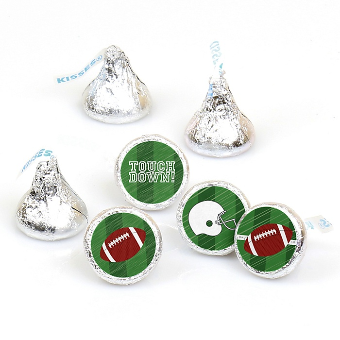 End Zone - Football - Round Candy Labels Party Favors - Fits Hershey's Kisses - 108 ct
