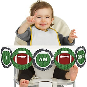 End Zone - Football 1st Birthday - I am One - First Birthday High Chair Banner