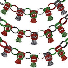 End Zone - Football - 90 Chain Links and 30 Paper Tassels Decoration Kit - Baby Shower or Birthday Party Paper Chains Garland - 21 feet