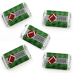 End Zone - Football - Mini Candy Bar Wrapper Stickers - Baby Shower or Birthday Party Small Favors - 40 Count