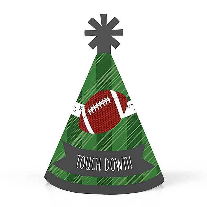 End Zone - Football - Personalized Mini Cone Baby Shower or Birthday Party Hats - Small Little Party Hats - Set of 10