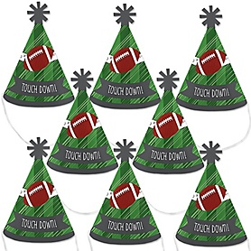 End Zone - Football - Mini Cone Baby Shower or Birthday Party Hats - Small Little Party Hats - Set of 8