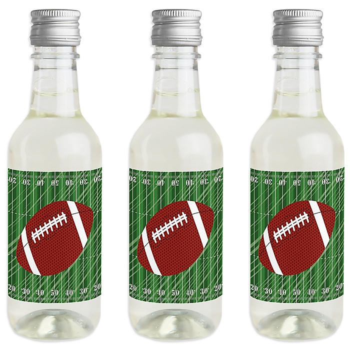 End Zone - Football - Mini Wine and Champagne Bottle Label Stickers - Baby Shower or Birthday Party Favor Gift for Women and Men - Set of 16