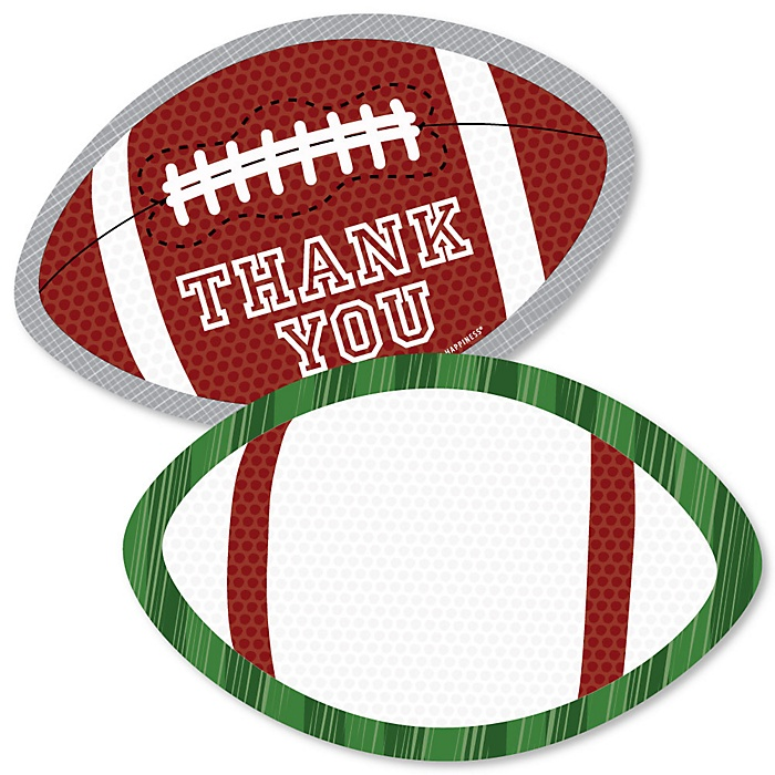 End Zone - Football - Shaped Thank You Cards - Baby Shower or Birthday Party Thank You Note Cards with Envelopes - Set of 12