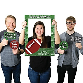 End Zone - Football - Personalized Birthday Party or Baby Shower Selfie Photo Booth Picture Frame & Props - Printed on Sturdy Material
