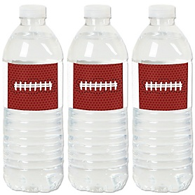End Zone - Football - Baby Shower or Birthday Party Water Bottle Sticker Labels - Set of 20