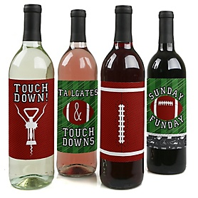 End Zone - Football - Baby Shower or Birthday Party Decorations for Women and Men - Wine Bottle Label Stickers - Set of 4