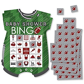 End Zone - Football - Picture Bingo Cards and Markers - Baby Shower Shaped Bingo Game - Set of 18