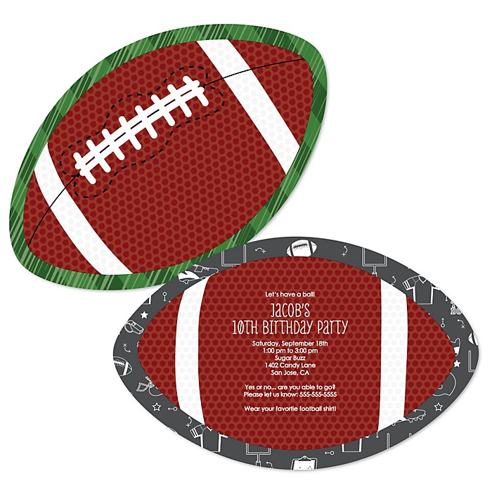 End Zone - Football - Personalized Birthday Party Invitations - Set of 12