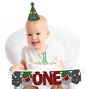End Zone - Football 1st Birthday - First Birthday Boy Smash Cake Decorating Kit - High Chair Decorations