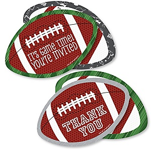 End Zone - Football - 20 Shaped Fill-In Invitations and 20 Shaped Thank You Cards Kit - Baby Shower or Birthday Party Stationery Kit - 40 Pack