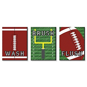 End Zone - Football - Kids Bathroom Rules Wall Art - 7.5 x 10 inches - Set of 3 Signs - Wash, Brush, Flush