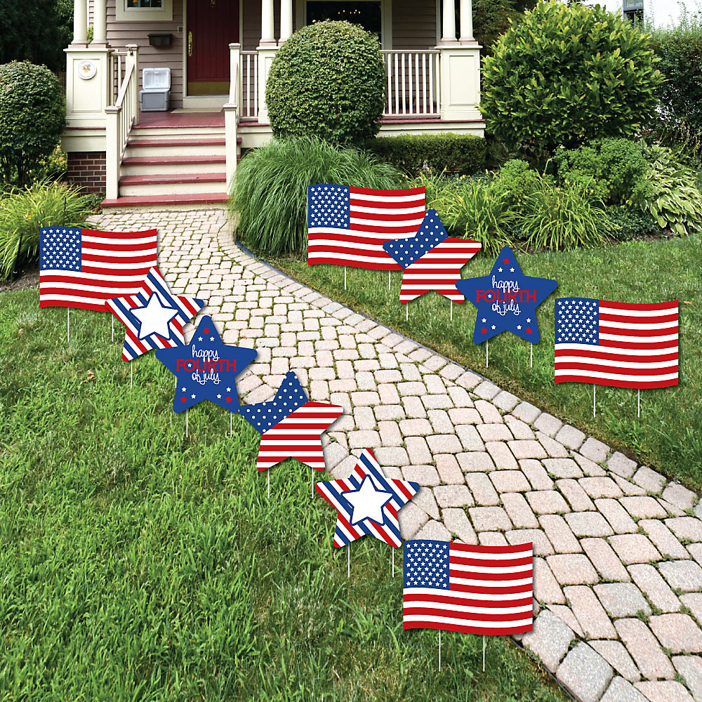 4th Of July Flag And Star Lawn Decorations Outdoor Fourth Of