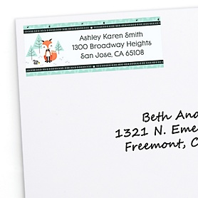 Mr. Foxy Fox - Personalized Baby Shower Return Address Labels - 30 ct