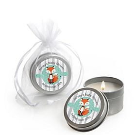 Mr. Foxy Fox - Personalized Baby Shower Candle Tin Favors - Set of 12