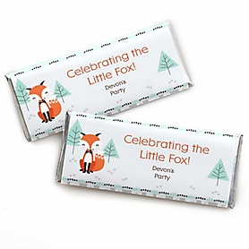 Mr. Foxy Fox - Personalized Candy Bar Wrapper Baby Shower or Birthday Party Favors - Set of 24