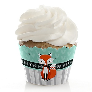 Mr. Foxy Fox - Baby Shower Decorations - Party Cupcake Wrappers - Set of 12