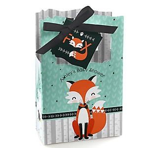 Mr. Foxy Fox - Personalized Baby Shower Favor Boxes - Set of 12