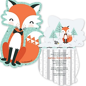 Mr. Foxy Fox - Shaped Baby Shower Invitations - Set of 12