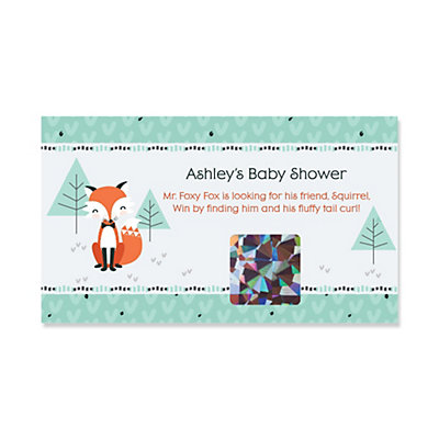 Mr Foxy Fox Personalized Baby Shower Game Scratch Off Cards 22