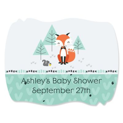 Mr. Foxy Fox   Personalized Baby Shower Squiggle Stickers   16 Ct