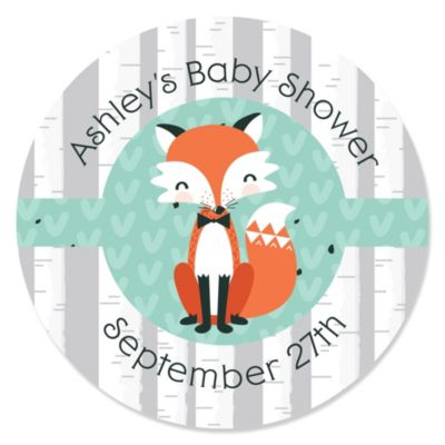 Mr. Foxy Fox   Personalized Baby Shower Sticker Labels   24 Ct