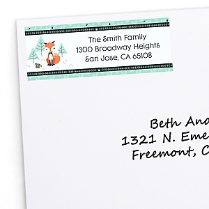Mr. Foxy Fox - Personalized Birthday Party Return Address Labels - 30 ct